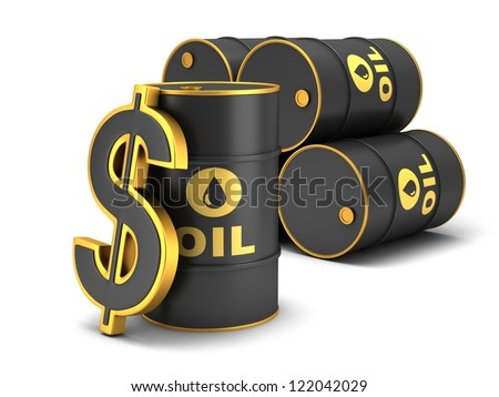 Barrel of oil and dollar sign on a white background. - stock photo