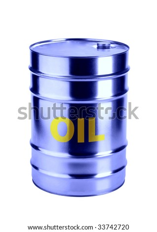 barrel of oil by blue reflected  on a white background - stock photo