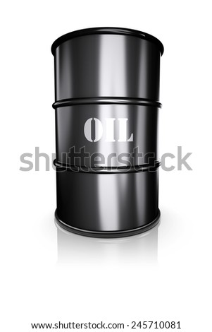 Barrel of oil on a white. 3d image
