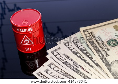 barrel of oil on black background - stock photo