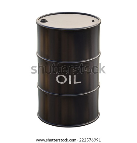 Barrel of oil on white background with clipping path.