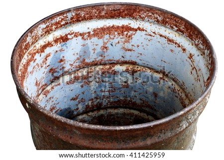 Barrel Oil bin circle old round, bag isolated on background white - stock photo