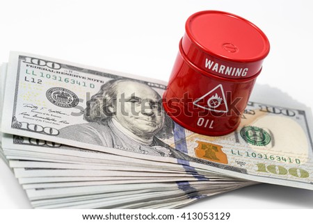 barrel oil, dollar - stock photo