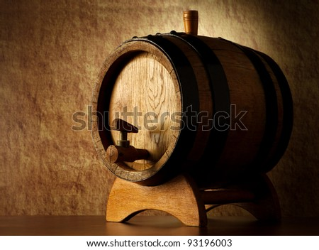 Barrel on a old stone - stock photo