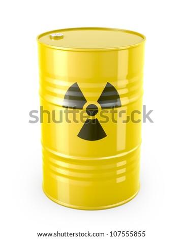 Barrel with radioactive symbol, isolated on white background - stock photo