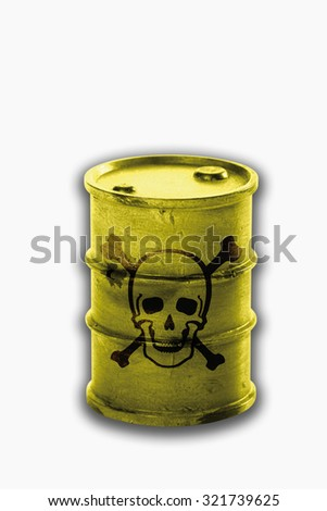 Barrel with signs of skull and crossbones on white background - stock photo