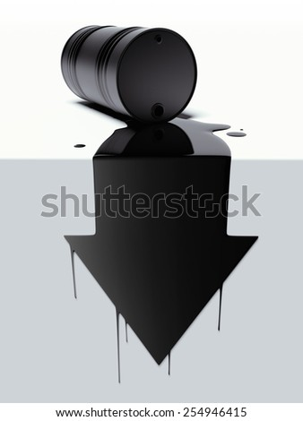 Barrel with spilled oil in the form of arrow - stock photo