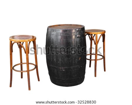 Barrel with Two Cane Stools isolated with clipping path - stock photo