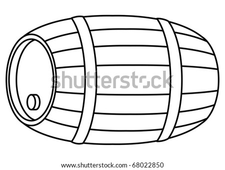 Barrel wood, container with hoop and stopper, contour, isolated - stock photo