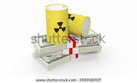 Barrels for radioactive biohazard waste on stacks of dollar banknotes, isolated on white background, 3d rendering - stock photo