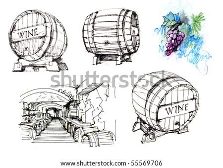 barrels & grapes - stock photo