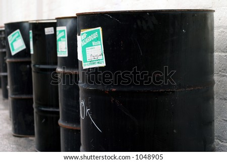 Barrels in a row - stock photo