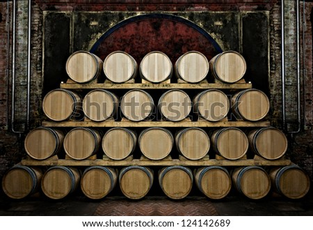 Barrels in a wine-cellar - stock photo
