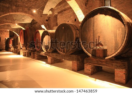 barrels of red wine - stock photo