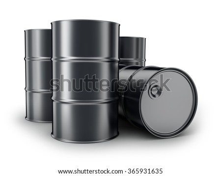 Barrels on a white background (done in 3d) - stock photo