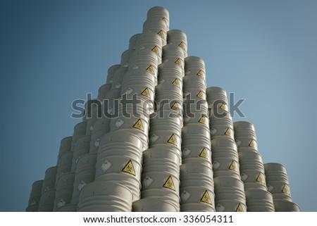 Barrels With Dangerous Biohazard Waste Pyramid Pile. - stock photo