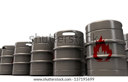 barrels with flame sign