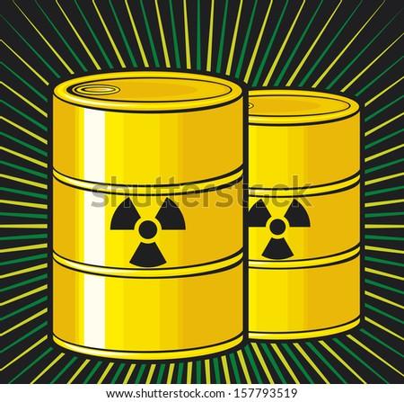 barrels with nuclear waste (barrel radioactive waste, radioactive tank and warning sign, barrels with radioactivity waste symbol, toxic barrels, radiation symbol) - stock photo
