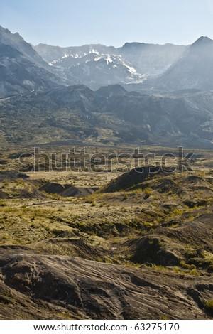 Barren landscape around Mount Saint Helens volcano - stock photo
