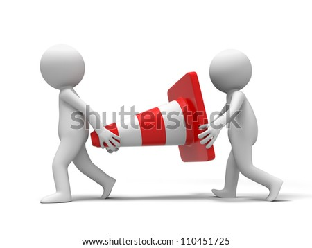 barricade /Two people carried a barricade - stock photo