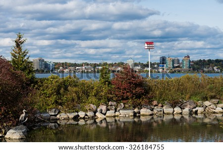 Barrie skyline with Kempenfelt Bay  - stock photo