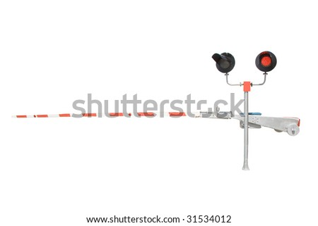 barrier and traffic light under the white background - stock photo