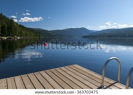 Barrier lake Canada - stock photo