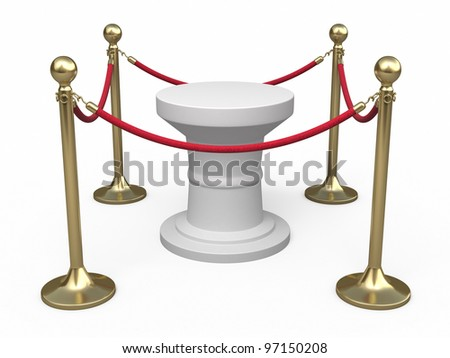 Barrier rope and white base render (isolated on white and clipping path)