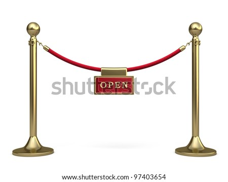 Barrier rope and written warning render (isolated on white and clipping path) - stock photo