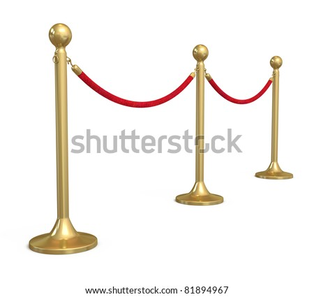 Barrier rope (isolated on white and clipping path) - stock photo
