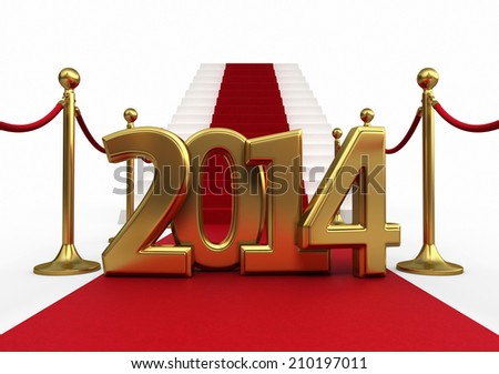 Barrier rope red carpet and new year 2014 render (isolated on white and clipping path) - stock photo