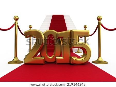 Barrier rope red carpet and new year 2015 render (isolated on white and clipping path) - stock photo