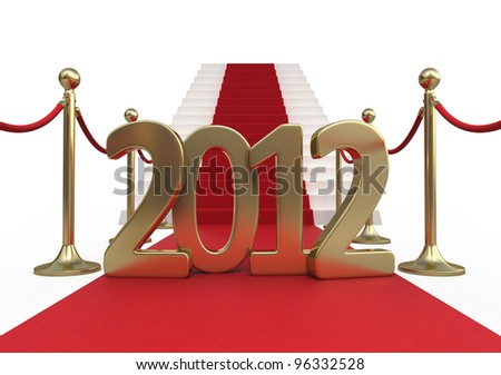 Barrier rope red carpet and new year 2012 render (isolated on white and clipping path) - stock photo