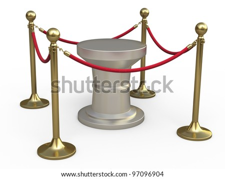 Barrier rope render (isolated on white and clipping path) - stock photo