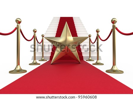 Barrier rope star and red carpet (isolated on white and clipping path) - stock photo