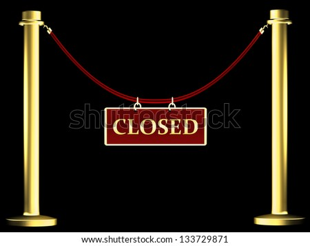 Barrier rope with the inscription closed - stock photo