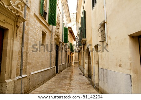 Barrio Calatrava Los Patios in Majorca at Palma de Mallorca narrow street - stock photo
