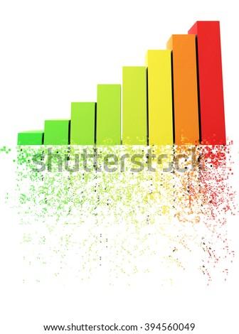 Bars and charts - pixel disintegration - stock photo