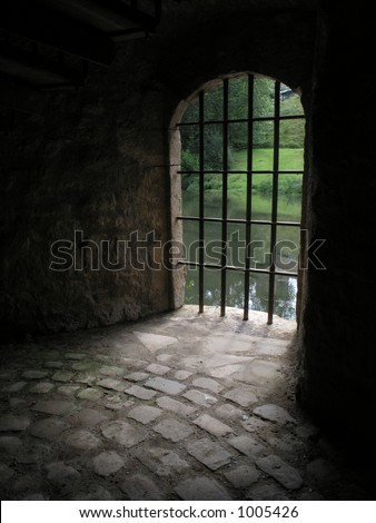 bars of a old prison - stock photo
