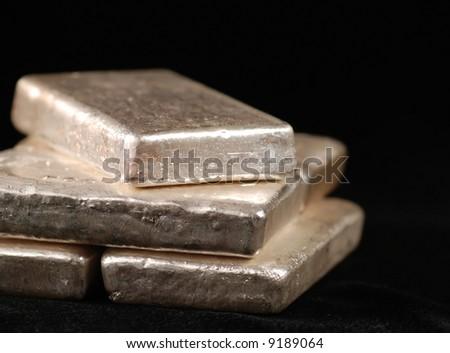 bars of pure silver - stock photo
