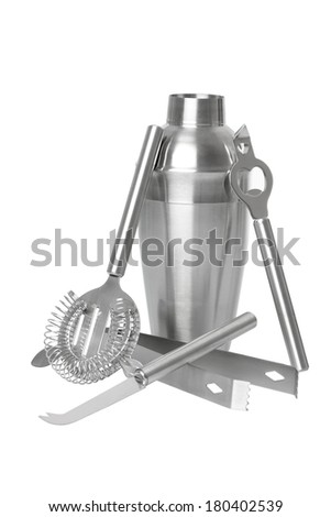 Bartending tools cutout, isolated on white background - stock photo