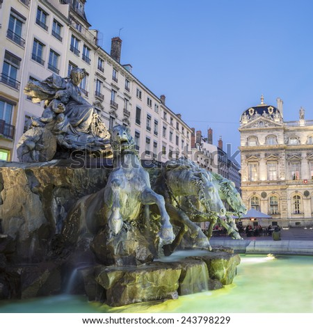 Bartholdi Fountain in Lyon by night, France - stock photo