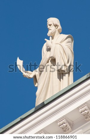Bartholomew the Apostle. One of the statues of the Twelve Apostles at the apexes and corners of the roof line of Helsinki Cathedral, Finland.