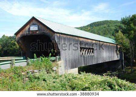 Bartonsville Covered Wooden Bridge in Vermont - stock photo
