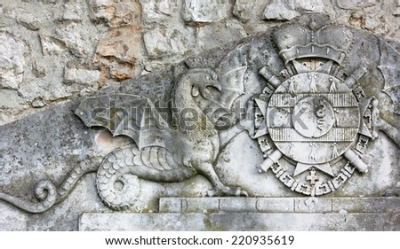 Bas-relief Depicting a Coat of Arms - stock photo