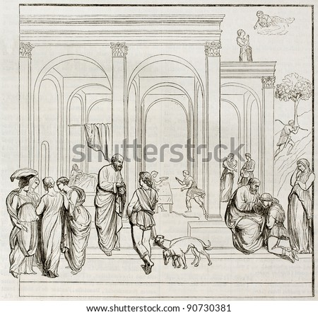 Bas-relief depicting Esau and Jacob on the Florence baptistery main door, old illustration. After Lorenzo Ghiberti, published on Magasin Pittoresque, Paris, 1844 - stock photo