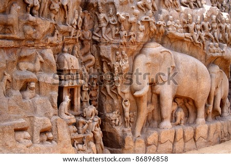 Bas-relief in Mammallapuram, India - stock photo