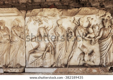 Bas relief in Open-Air theater of ancient city Nysa, Aydin, Turkey.