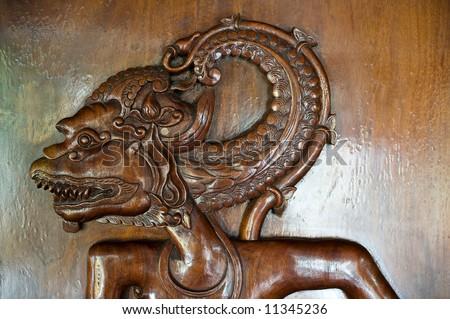bas relief of asian wayang - stock photo