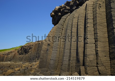 Basalt columns in Taiwan  Penghu - stock photo